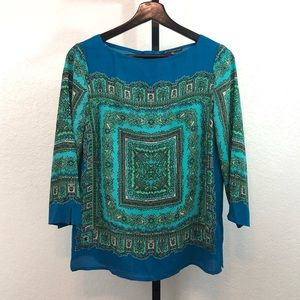 Adrianna Papell-Blue & Green Blouse-M